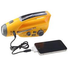 Camping Solar FM Radio Handkurbel Dynamo USB Handy Power Bank Alarm Taschenlampe