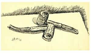 Rare Stephen Colgate Howard 1977 Pen+Ink Illustration of Tobacco Pipes - Signed