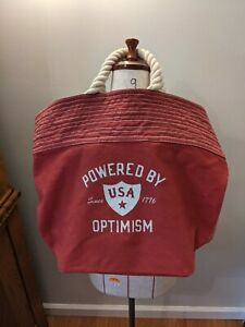 Life is Good Large Tote Bag Beach, Yoga Powered by Optimism Robe Handles Red