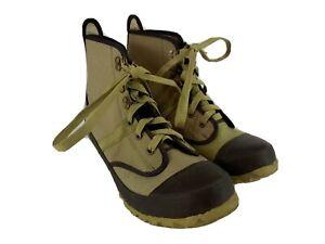 Hodgman Mens Khaki Tan Canvas Steel Shank Caster Wading Fishing Boots Size 9