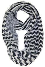 BWH Chevron & Striped Design Reversible Infinity Scarf, Cowl #435 Black/White