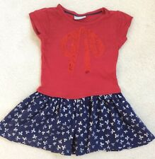 Girls Red and Navy Mix Fabric Short Sleeve Age 4 Years from Matalan