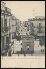 tarjeta postal BARI calle tiran de BARI y kiosco de agua serino