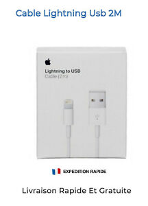 Original Chargeur Cable USB Apple Lightning IPhone 5 6 7 8 IPad 1-2 Mètres Neuf