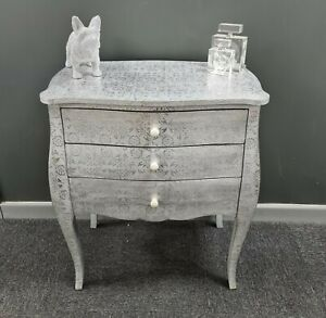 Shabby Chic Bombe Style White Silver Metal Embossed Chest of 3 Drawers Bedside