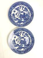 VINTAGE BLUE WILLOW  Porcelain SAUCER PLATES 6 SET OF 2 EUC