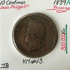 10 CENTIMES LOUIS-PHILIPPE 1er - 1839 A - Monnaie en Bronze // Qualité : TB