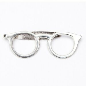 Free shipping glass style spectacles tie clip men party suits solid clasp white
