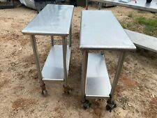 "Set of 2 Commercial Stainless Steel 36"" x 15"" Kitchen Work Prep Mobile Tables"
