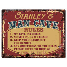 PPMR0106 STANLEY'S MAN CAVE RULES Rustic Tin Chic Sign man cave Decor Gift