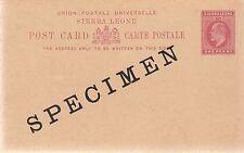 SIERRA LEONE:1902 ONE PENNY Postal Card opt SPECIMEN  H &G8 unused