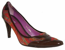 ETRO PATENT LEATHER  MULTICOLOR SUEDE SHOES SIZE 38.5  US 8.5