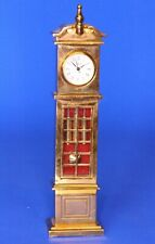 Vintage miniature brass grandfather clock, working order H:14cm *[19717]