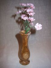 SIX INCH TALL POLISHED BROWN MARBLE VASE WITH ARTIFICIAL PINK FLOWERS
