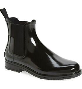 Hunter Rain Boots Original Refined Gloss Chelsea Ankle Booties Slate 10 DEFECT