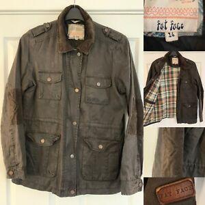 Fatface Green Khaki Wax Style Cotton Jacket 14 VGC