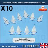 10PCS MAZDA WHITE PLASTIC DOOR CARD TRIM PANEL CLIPS CAR UNIVERSAL HONDA HOOD