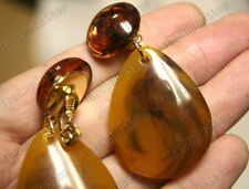 "2.5""big EZ CLIP ON gold tone RETRO tortoiseshell amber lucite EARRINGS TEARDROP"