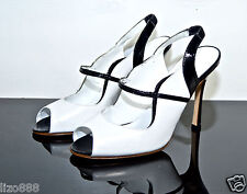 Monolo Blahnik black and white leather peep toe slingbacks UK 4.5 / EU 37.5