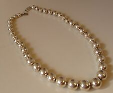 """Vintage Sterling Silver Bead Ball Necklace 925 Taxco Mexico 68 GRAMS 17"""" Long"""