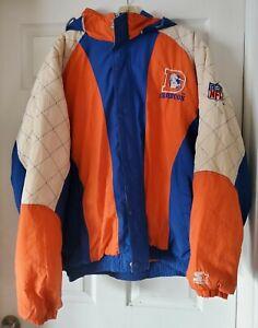 Denver Broncos Vintage Starter Brand Puffer Jacket Coat Parka - Men's XL READ**