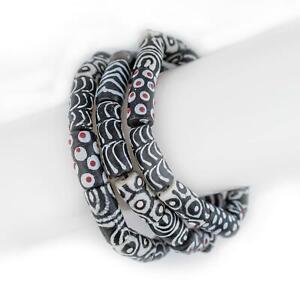 Black & White African Bead Bracelet 11mm Ghana Black and White Cylinder Glass