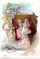 1880s Toledo Ohio Lion Coffee Woolson Spice Christmas Victorian Trade Card