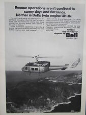 9/1973 PUB BELL HELICOPTER TEXTRON TWIN TURBINE UH-1N HELICOPTERE ORIGINAL AD