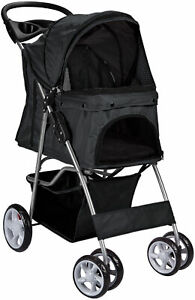 Paws & Pals PTST02BK 4 Wheeler Pet Stroller for Dogs and Cats - Black