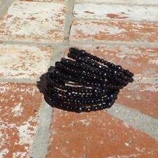 Wrap Bracelet Boho W/ Free Shipping Jet Black Glass Beads Memory Wire Ladies