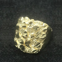 """Men's Large Nugget Square Fancy Real 10K Solid Yellow Gold Ring """"Christmas Day"""""""