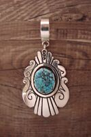 Navajo Indian Jewelry Sterling Silver Turquoise Pendant - T & R Singer