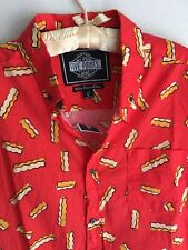 NWT XL Crinkle Cut French Fries Five Points Button Shirt Junk Food Foodie Fry