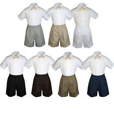 3pc Set Boy Toddler Formal Party Champagne BowTie White Navy Khaki Shorts S-4T