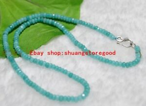 2x4mm Aquamarine Blue Faceted Roundel Gem Bead Necklace Silver Clasp 16-35''