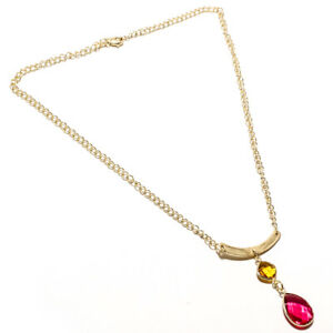 """FACETED RUBELITE,CITRINE GEMSTONE SILVER PLATED JEWELRY NECKLACE 16-18"""""""