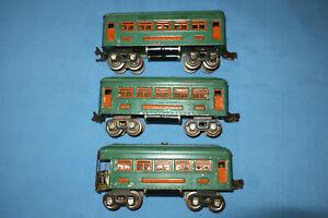 Lionel Pre-war O Gauge #607, #607 & #608 Pullman & Observation Passenger Cars