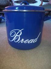 Vtg Large Enamel Blue And White Bread Bin Judge Hob Pot Metal Kitchen 80s 28cm