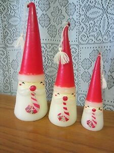3~VTG CONE SHAPE SANTA CANDLES W CANDY CANE IN HIS MOUTH~JAMES SUMMER STYLE