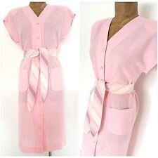 Vintage 80s Pink Belted Dress Size Medium Summer Pencil Casual Sleeveless Linen
