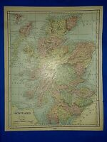 Vintage 1892 MAP ~ SCOTLAND ~ Old Antique Original Atlas Map