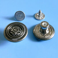 12 NO-SEW Vintage Metal Brass Jean Jeans Tack Snaps Buttons 16.5mm Pewter G192