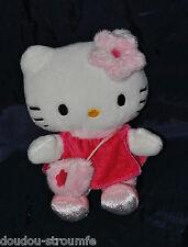 Peluche Doudou Chat HELLO KITTY SANRIO Blanc Robe Rose Fleur Sac 15 Cm TTBE