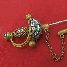 MILLEFIORI NADEL Schwert  Tombak vergoldet ° Gold Double ° BROSCHE MICRO MOSAIC