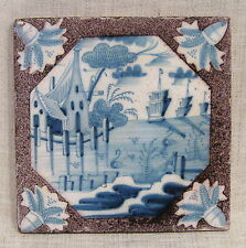 """Antique 18th Century 5"""" Delft Tile with Ships at Sea"""