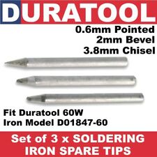 Set of 3 x Soldering Iron Tips 79-2310/20/30 for 60W Duratool D01847-60 SD01127