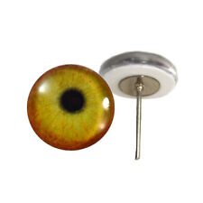 Pair of 12mm Flamingo Glass Eyes on Wire Pin Posts for Felt Doll Making