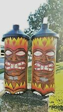 Unique HOT FLAME StyleTable TOP Wood Tiki Torches with FREE Tiki Cannisters!