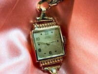 Beautiful Ladies 1940's Ancre 18ct Gold Dress Watch On Gold Snake Link Bracelet