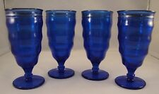 COBALT BLUE GLASS Dessert Parfait Soda Shake Glasses Pedestal Set 4 Silver Ring